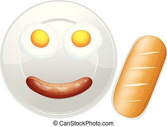 A Funny Breakfast on White Background