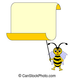 A funny cartoon bee with a big blank paper