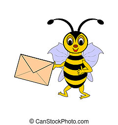 A funny cartoon bee with a letter in its hand