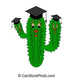 A funny cartoon cactus in a magister cap. Vector-art...