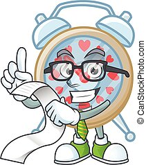 A funny cartoon character of clock love with a menu
