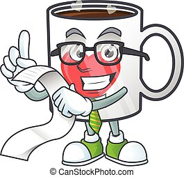 A funny cartoon character of cup coffee love with a menu