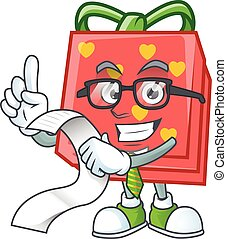 A funny cartoon character of love gift red with a menu