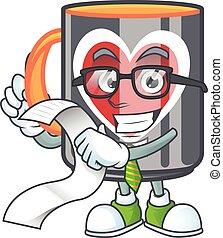A funny cartoon character of mug love with a menu