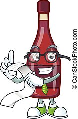 A funny cartoon character of red bottle wine with a menu