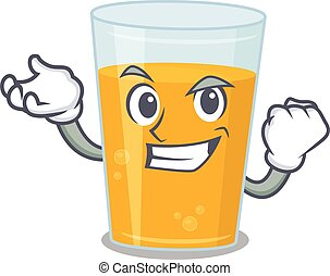 A funny cartoon design concept of glass of orange juice with happy face