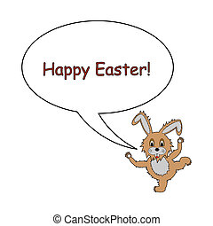 A funny cartoon Easter bunny rabbit with a speech bubble. Design Easter card. Vector-art illustration on a white background