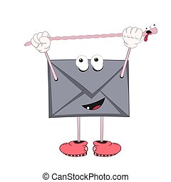 A funny cartoon envelope with eyes, arms and legs in shoes stretches the length of an earthworm.