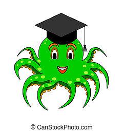 A funny cartoon octopus in a magister cap. Vector-art...