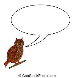 A funny cartoon owl with a speech bubble