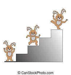 A funny cartoon rabbit climbing up on a ladder