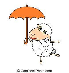 A funny cartoon sheep with an umbrella