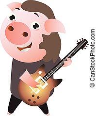 A funny cheerfull rockstar piggy plays guitar.