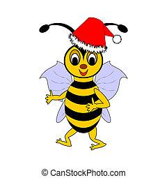 A funny Christmas cartoon bee