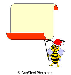 A funny Christmas cartoon bee with a big blank paper for congratulations. Vector-art illustration on a white background