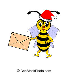 A funny Christmas cartoon bee with a letter in its hand