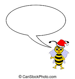 A funny Christmas cartoon bee with a talking bubble