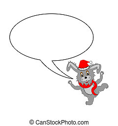 A funny Christmas cartoon rabbit with a speech bubble
