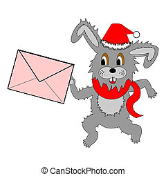 A funny Christmas hare running with a letter in his paws