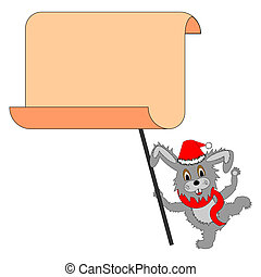 A funny Christmas hare with a big blank paper in his paws