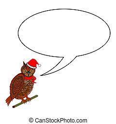 A funny Christmas owl with a speech bubble. Vector-art...