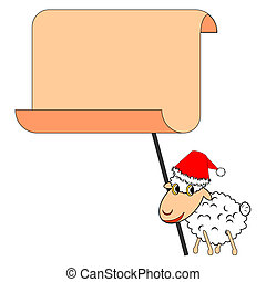 A funny Christmas sheep with a big blank paper