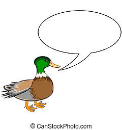 A funny cute duck with a talking bubble