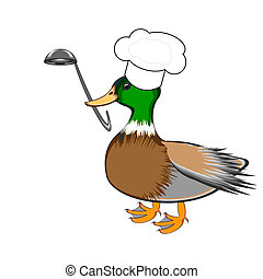 A funny duck with a chef hat and a soup ladle in its beak. Vector-art illustration on a white background