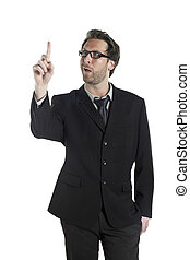 businessman looking at his index finger - A funny face of...