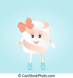 A funny girl Marshmallow with bow cartoon character