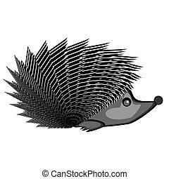 A funny hedgehog. A stylized monochrome vector-art...