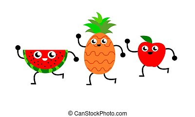 A funny illustration of a slice of watermelon, a pineapple and an apple dancing