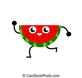 A funny illustration of a slice of watermelon dancing