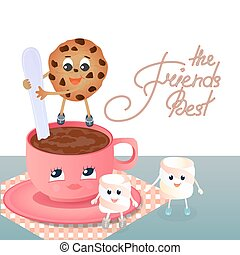 A funny Marshmallow and a chocolate chip cookie with a spoon shakes the coffee in the cup. Greeting card to the Day of Friendship. Best friends hand lettering
