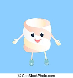 A funny Marshmallow cartoon character vector isolated on blue background