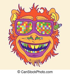 A funny monkey face colored glasses