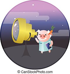 A funny pig astronomer with telescope.