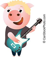 A funny piggy sings and plays on bass guitar.