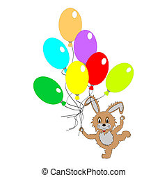 A funny rabbit with many colorful balloons