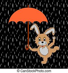 A funny rabbit with umbrella in the rain