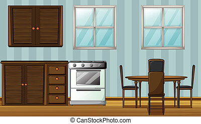 Illustration of a wooden furniture in a room