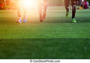 a, futball foci, játékosok, -ban, a, stadion, noha, sunset., sport, fogalom
