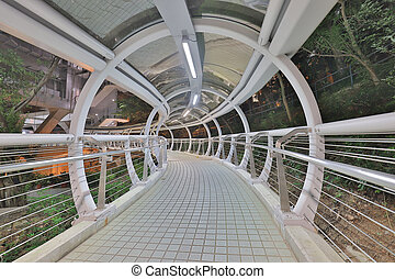 a Futuristic Architecture. Tunnel With Moving Sidewalk.