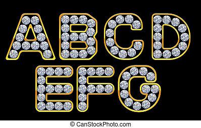 a-g, cartas, incrusted, con, diamantes