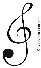A G-clef sign - Illustration of a G-clef sign on a white...