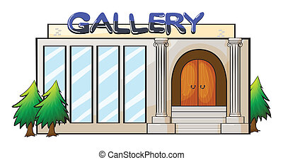 A gallery - Illustration of a gallery on a white background...