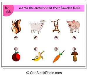 A game for children. Match the animals with their favorite foods.
