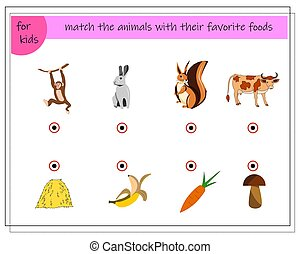 Match the animals with their favorite foods