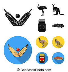 A game of cricket, an emu ostrich, a kangaroo, a popular food.Australia set collection icons in black, flat style bitmap symbol stock illustration web.