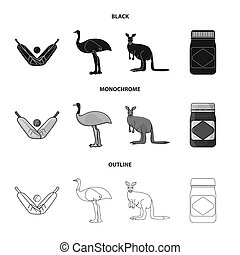 A game of cricket, an emu ostrich, a kangaroo, a popular food.Australia set collection icons in black,monochrome,outline style bitmap symbol stock illustration web.